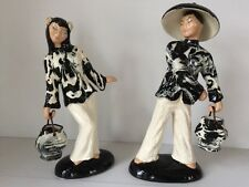 Hedi Schoop Hand Painted California Art Pottery  Chinese Couple Figurines 13""