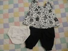 NEW designer Calvin Klein baby girl outfit party dress black white floral 0-3m