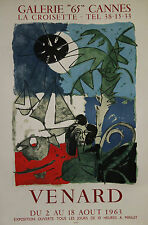 """""""VENARD /EXPO GALERIE """"65"""" CANNES 1963"""" Affiche originale entoilée Litho MOURLOT"""