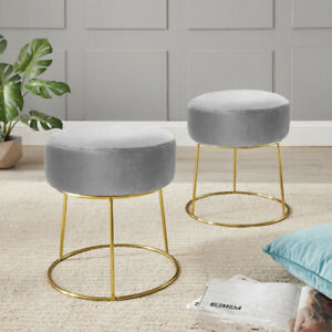Velvet Pouffe Round Footstool Dressing Table Chair Vanity Makeup Stool Nordic