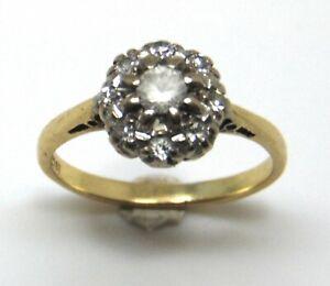 18ct Yellow Gold Quartz Cluster Ring Statement Vintage Twenties Jewellery 1920s