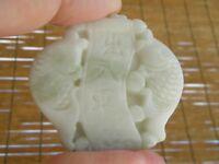 Jade Jadéite 100% Naturel Gravé Double Poisson * Amulette Pendentif #J01