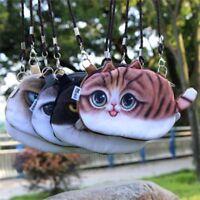 Women Messenger Cute Shoulder Print Cartoon Cat Bag Zipper Closure Coin Purse