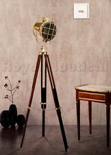 Nautical Designer Wooden Spotlight Floor Lighting Lamp Wooden Tripod Stand!