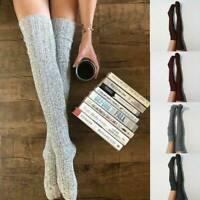 Frauen weiche Wolle warm gestrickt über Knie Oberschenkel hohe Strümpfe Socken ~