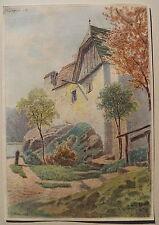 Rudolf Pöpl, Dürnstein im Herbst, Wachau, Aquarell, 1922,