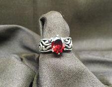 "Silpada ""Villa"" Red Cubic Zirconia Sterling Silver Filigree Ring Size 8"