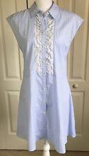 Thakoon Dress 8 A- Line Sleeveless Ruffle Trim Shirt Dress in Blue Strip- NWT