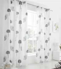 Tuscany Eyelet Ring Top Voile Net Curtains Pair Ready Made Fully Lined Curtains
