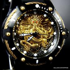 Men's Invicta Bolt Dragon Gold Tone Mechanical Black Silicone 52mm Watch New