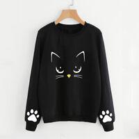 Women Autumn Winter Cat Sweater O-Neck Long Sleeve Blouse Jumper Top Pullover A