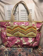 FOSSIL Key Per Coated Canvas Carryall Tote Shopper Diaper Bag Multi Pockets XL