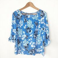 Croft & Barrow Womens L Large Blouse Blue White Floral 3/4 Sleeves Top M37