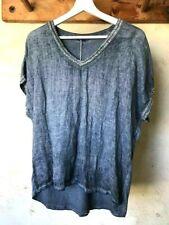 ♥Shirt Bluse Denim Blau Jeansblau Glitzer Kurzarm  Baumw. Leinen Made in Italy♥