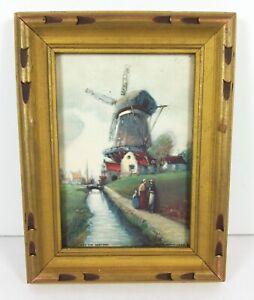 Vintage Print The Sentinel Dutch Windmill Von Vienland Carved Frame Glass 6.5x5