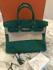 Hermes Birkin 35 Clemence Verso Vert Vertigo   vert Fonce Authentic Bag 98aad9ebe09ca