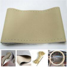 Car Auto DIY Beige Genuine Leather Steering Wheel Cover Wrap Sew-on Kit 15''