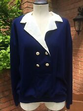 Vintage Double Breasted Long Sleeve Knit Top-Navy and White