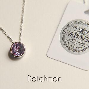 925 Sterling Silver Necklace With Light Rose Swarovski Crystal