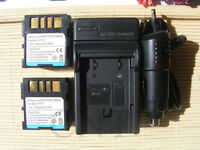 2 Battery +Charger for BN-VF707 JVC Everio GZ-MG37 HDD GZ-MG21 GZ-MG27 GZ-MG37