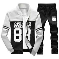 NEW Plus Size Fashion Men  Print Sweat Tracksuit Outwear Sports Suit Casual