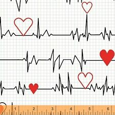 Heart Beat Nurse Medical EKG White Cotton Fabric Windham Calling Nurses Yard