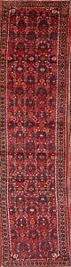 Vintage Geometric Traditional Handmade Long Runner Rug Wool Oriental Carpet 3x13