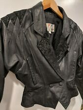 Rare Black Womens Wilsons Leather 80s Vintage Crop Bolero Biker Jacket Small S