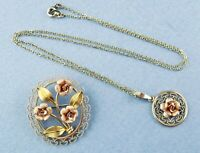 Krementz Necklace & Brooch Set Rose Flowers & Filigree w/14K Gold Overlay Signed