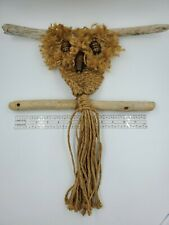Vintage Hand Made Macrame Jute Owl Wall Hanging Wood Beads Drift Wood 1970's