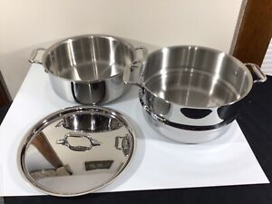 All-Clad 3pc Multi Pot 6 Qt Stainless Steel Pasta/Stock Pot Strainer/Steamer-Lid