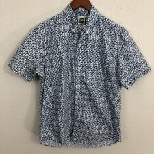 Kennington Button Down Shirt Sz M Blue White Polka Dot Short Sleeve 100% Cotton