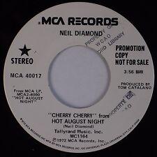 NEIL DIAMOND: Cherry Cherry, Hot August Night USA MCA DJ PROMO '72 45 VG++