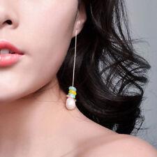 FT- Faux Pearl Stone Long Drop Linear Earrings Charming Women's Jewelry Gift Pro