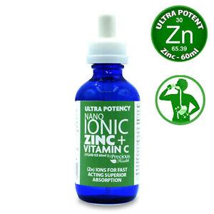 Ultra Potent High-Strength Nano Ionic Liquid Zinc + Vitamin C, 1 x 60ml