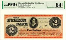 $2 1862 Washington, DC- Bullion Bank Remainder PMG 64 EPQ- STUNNING RARE NOTE!