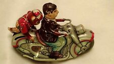 Vintage Monkey w/ Motorcycle Rider Tin WInd-up Toy PN 34354 Japan Kanto 1950s