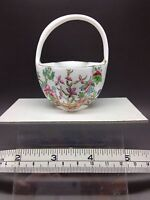 """Coalport  """"Indian Tree"""" (?) AD 1750  V 7133 Miniature Fluted Basket With Handle"""