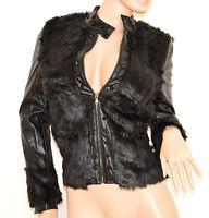 GIUBBINO NERO donna eco pelle pelliccia giacca giaccone piumino S M L G84