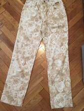 Maurice Abot Beige roses flowery pattern women jeans Italy size 48