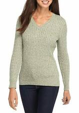 KIM ROGERS Size XL Cable V-neck Olive Marled Sweater NWT