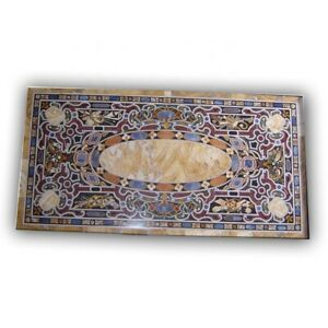 Black Marble Dining Table Top Scagliola Inlay Handmade Inlay Art Home Decor B403