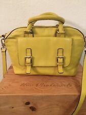 Boden Mustard Yellow Leather Satchel Crossbody Handbag