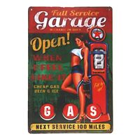 "Garage Open Metal Tin Sign 8"" x 12"""