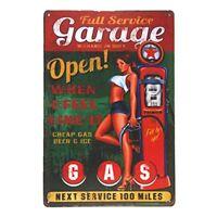 "Garage Open Full Service Metal Tin Sign 8"" x 12"""