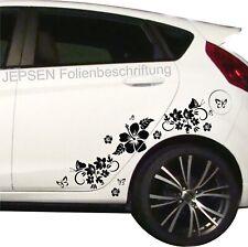 Auto Aufkleber Set C49 ML oder MR Farbwahl Schmetterlinge Blumen Hibiskus Blüten