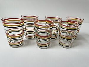 Set Of 6 Vintage Striped Juice Glasses Red Yellow Black Green Stripes On Clear
