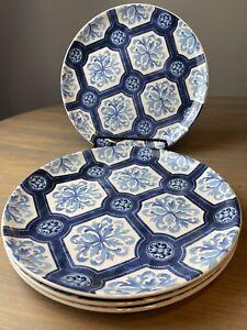 "Williams Sonoma Porto Blue And White Dinner Plate Set 4 10.5"" Blue & White New"
