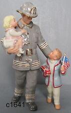 Lenox THE GUARDIAN Fire Fighter Man w/ Boy & Girl Figurine NEW in box