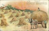 Haying Horse Wagon Sunset SCHULZ PIANOS MADE IN CHICAGO Adv on Back PC